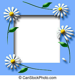 daisy scrapbook frame - white daisy and leaf spring frame...