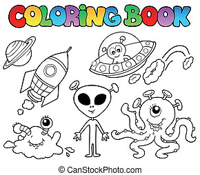 Coloring book with aliens - vector illustration