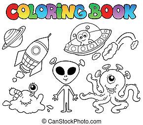 coloração, livro, estrangeiros