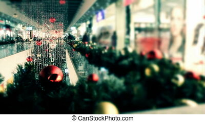 Christmas shopping center - Christmas decorated shop with...