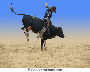 Bull Rider - Bull rider isolated with clipping path