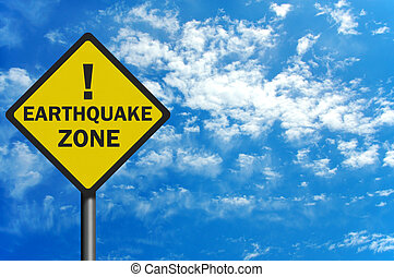 Photo realistic 'earthquake zone' sign, with space for text...