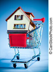 shopping cart and house - House in shopping cart on a blue...
