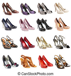 footwear16 pieces - Female shoes on a white background