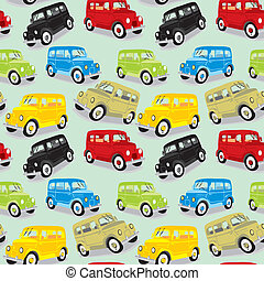 seamless pattern vintage cars - fully editable vector...