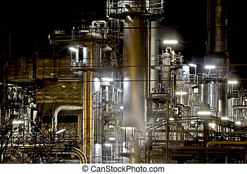 Factory at Night - Oil refinery factory at Night