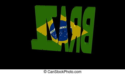 Brazil flag text rotate animation - Brazil flag text...