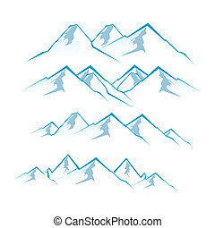 mountains - illustration of mountain view on white...