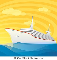 abstract ship in sea - illustration of abstract ship in sea