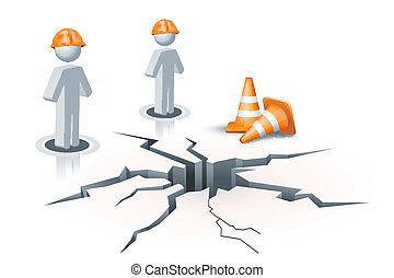 under construction site - illustration of human icon on...