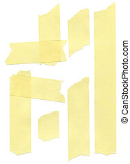 set of yellow paper masking tapes on white background