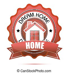 dream home tag - illustration of dream home tag on white...