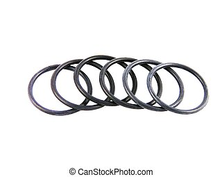 O rings. - Group of six black rubber rings.