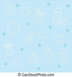 baby boy elements, blue background