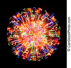 Multi-coloured light sphere on a black background
