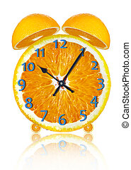 clock - orange clock on a white background