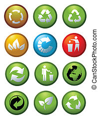 Glossy recycle environmental icons