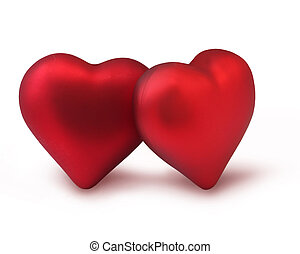Red Valentine hearts - Two red Valentine decoration hearts...