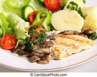 Grilled chicken breast meal - A meal of marinaded, grilled...