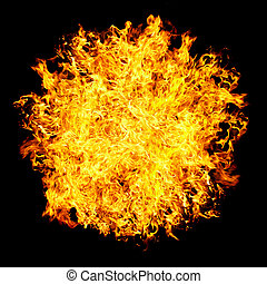 Fireball on a black background