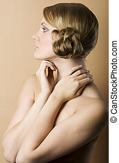 old fashion portrait of blond woman