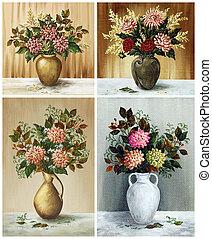 flores, jogo,  dahlias