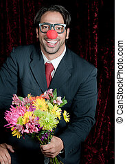 Clown Business man with Wild Flowers