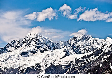 Alaska Snowy Mountain - Alaska mountain with snow caps and...