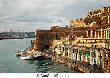 Valletta and Grand Harbour. Malta - View of Valletta and...