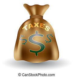 Taxes Money Bag - An image of a taxable money bag