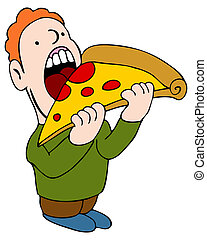 Eating Pizza - An image of a man eating a slice of pizza.