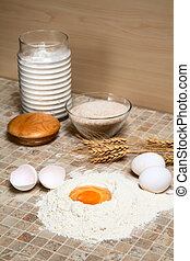 stillife with eggs and flour