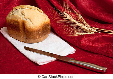 stillife with bread and knife