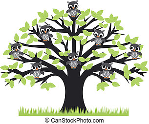 owl tree - a tree with cute owls