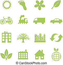 green ecology symbols - sixteen different green ecology...