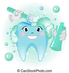 Teeth cleaning. Illustration in vector format EPS