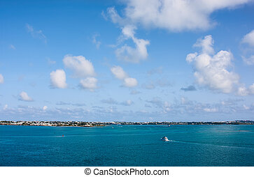 The Bermuda Coastline. View is from the ocean looking...