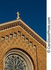 crucifixos, colocado, telhado, igreja
