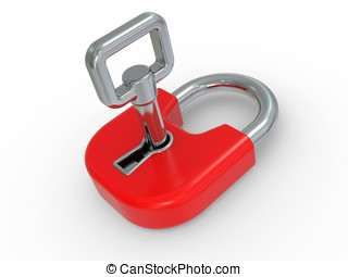 3d red lock with key