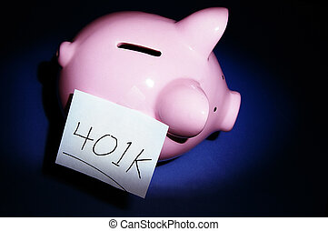 piggy bank with 401k savings lable