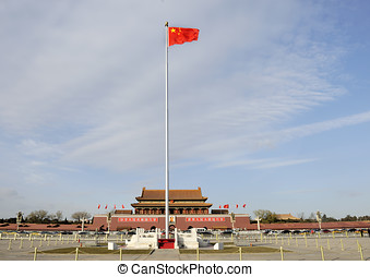 Tiananmen Square in Beijing (China) - A Chinese red flag...