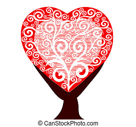 heart tree isolated on white backgr