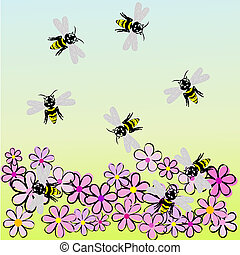 Bees and flowers, spring landscape