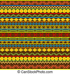 Ethnic African pattern with multicolored motifs