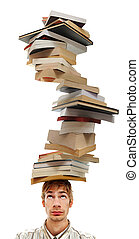 Balancing a Stack of Books on Head - A young adult teenage...