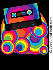 Retro Party Background - Audio Casette Tape on Multicolor...