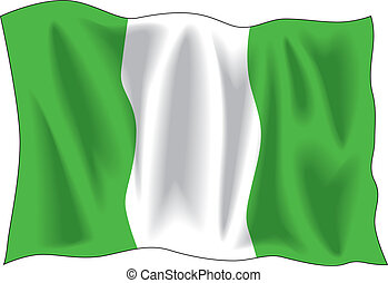 Nigerian flag - Waving flag of Nigeria isolated on white
