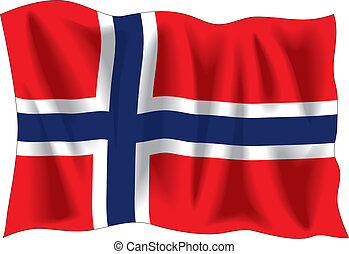 Nerwegian flag - Waving flag of Norway isolated on white