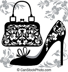 Fashion concept - Black silhouettes of women shoe and bag...