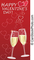 Valentines greeting with champagne